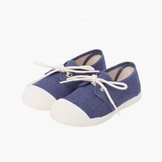 Sneaker Casual in Tela Puntale Gomma Blu jeans