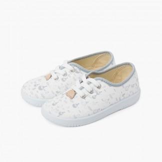 Sneakers Lacci Bambini Tela Palloncini Grigio
