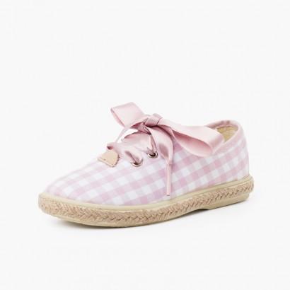 Sneakers Quadretti Vichy e Iuta con Lacci in Raso Rosa y Blanco