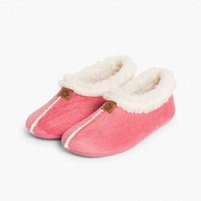 Pantofole Finto Camoscio Fodera tipo Agnello Rosa