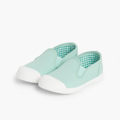 Sneakers Tela senza Lacci con Elastici Laterali Verde menta