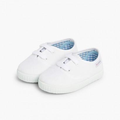 Scarpe Bambini tipo Sneakers con lacci Bianco