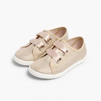 Sneakers Tela Metalizzata Fiocco Raso Oro