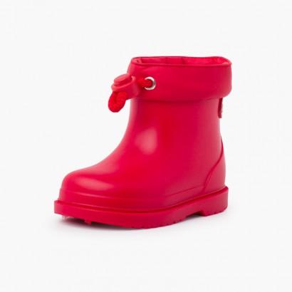 Stivali da pioggia per bambini dai colori pastello Rosso