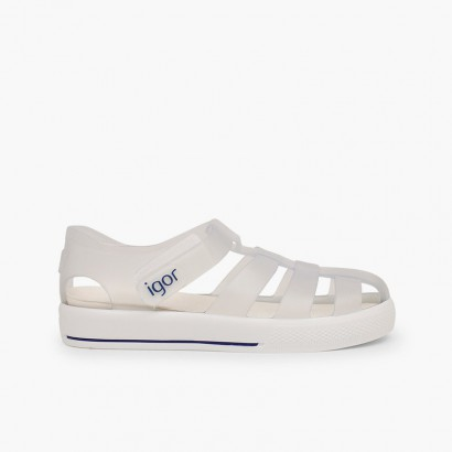 Sandali ragnetti con chiusura a strappo tipo scarpe da tennis Bianco