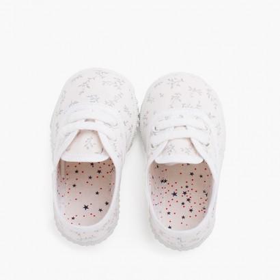 Sneakers in Tela Stampata Bambini bianco con filiali