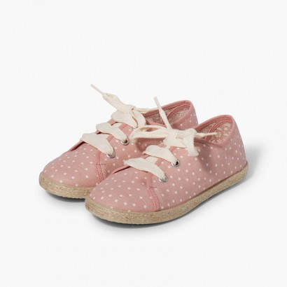 Sneakers tela a pois bambina Rosa