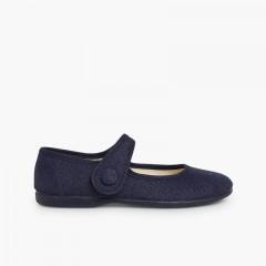 Scarpe con cinturino bambina lino velcro bottone Blu
