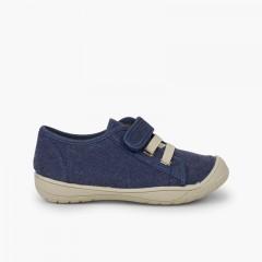 Sneakers chiusura velcro e laccio elastico Blu jeans
