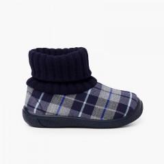 Stivaletti con collo a calza in lana Blu