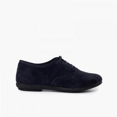 Blucher scarpe bambina e donna in camoscio Blu