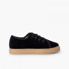 Sneakers in velluto con suola larga per bambini Nero