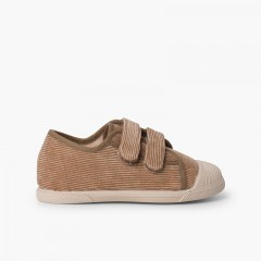 Sneakers in velluto a coste con puntale in gomma e doppia chiusura Taupe