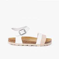 Sandali con cinturino bicolore con suola bio ergonomica Bianco e Beige