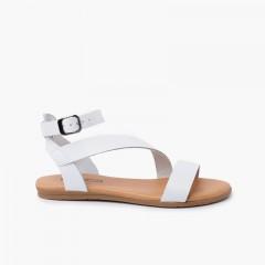 Sandalo in pelle per bambina e donna cinturino con fibbia Bianco