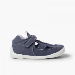 Sandali di tela per Bambino con Cinturino Adesivo Blu