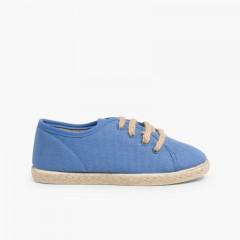 Espadrillas con Lacci tipo Sneakers Azzurro