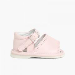 Scarpe sandali di pelle neonati bambine con fibbia  Rosa