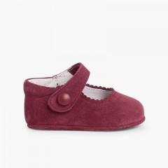 Scarpe/Scarpine Bambina Neonata Scamosciate Velcro Bordeaux