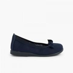 Ballerine scarpe primi passi elastico tela fiocco  Blu