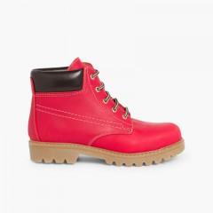 Stivali stile montagna bambini e adulti  Rosso