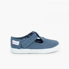 Scarpe Occhio di Bue T-Bar Bambini Velcro Blu jeans