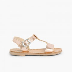 Sandali pelle liscia metallizzata  Bronzo