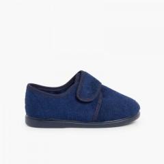 Pantofole Casa chiusura a strappo Blu
