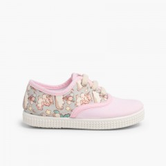 Sneakers lacci tela animal print Rosa