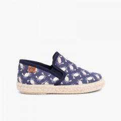 Sneakers Tela Stampata con Elastici Suola in Corda Blu