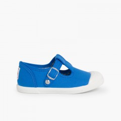 Sneakers Tela Bambini Punta Gomma Tipo T-bar Blu Reale