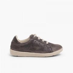 Scarpe Sneakers per Bambini Scamosciate Grigio