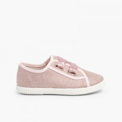 Sneakers Tela Metalizzata Fiocco Raso Rosa