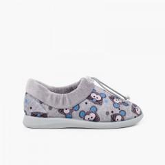 Pantofole regolabili ciabatte da casa topi Gris y Azul