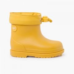 Stivali da pioggia per bambini dai colori pastello Giallo
