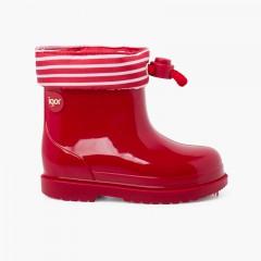 Stivali da pioggia regolabili con colletto a righe Rosso