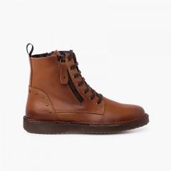 Stivali in pelle e borchiati con doppia zip Cammello