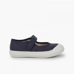Scarpe con cinturino Velcro Punta Gomma Rinforzata Blu