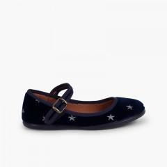 Scarpe con cinturino scollate in velluto con stelline Blu