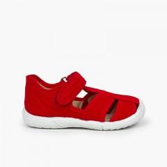 Sandali T-bar chiusura a strappo bambino punta rinforzata  Rosso
