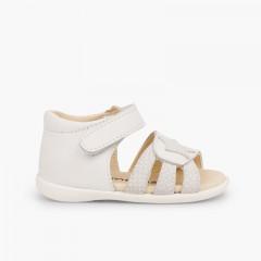 Sandali pelle primi passi bambina velcro e stella Bianco