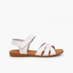 Sandali bambina pelle stringhe incrociate chiusura velcro Bianco
