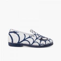 Pantofole a ragnatela Gris y Azul