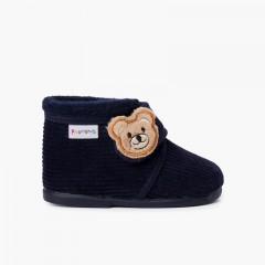 Pantofole Bottino in Velluto a Coste Bambini Orso Blu