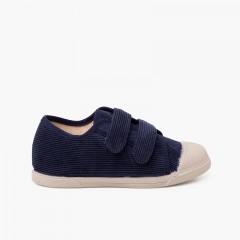 Sneakers in velluto a coste con puntale in gomma e doppia chiusura Blu