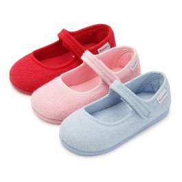 Pantofole Casa Bambina Velcro Spugna