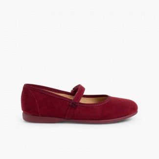 Scarpe Bambina Velcro Bordeaux