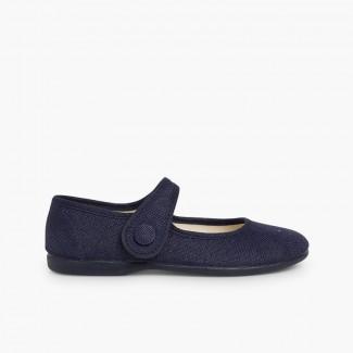 Scarpe con cinturino bambina lino chiusura a strappo bottone Blu