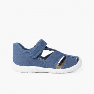Sandali T-bar chiusura a strappo bambino punta rinforzata  Blu jeans