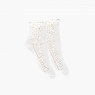 Calzini eleganti ricamati con fiocco Bianco
